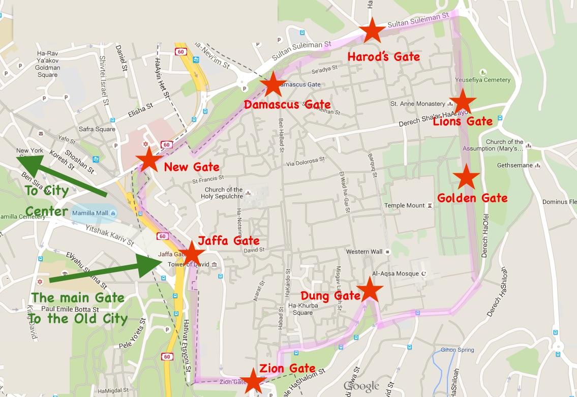 mapa jerusalem Maps of Jerusalem   Old City, Town Center, Tourist Attractions mapa jerusalem