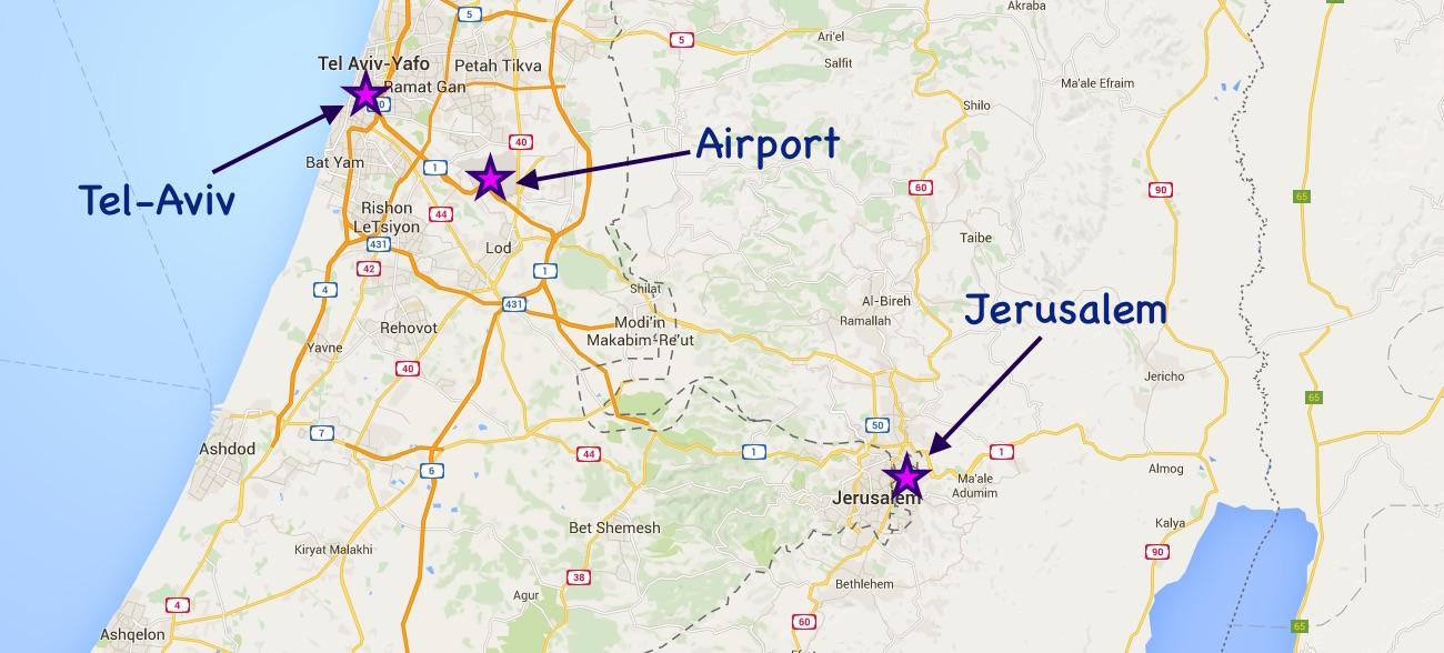 Tel Aviv lentokenttä kartta