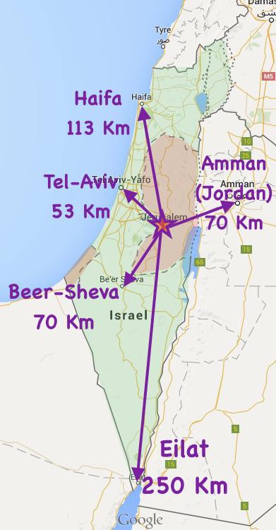 Cartina Israele Giordania.Dove E Gerusalemme La Posizione Di Gerusalemme E Distanze